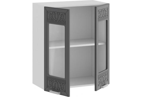 Шкаф навесной c двумя дверями со стеклом «Долорес» (Белый/Титан) - фото 2