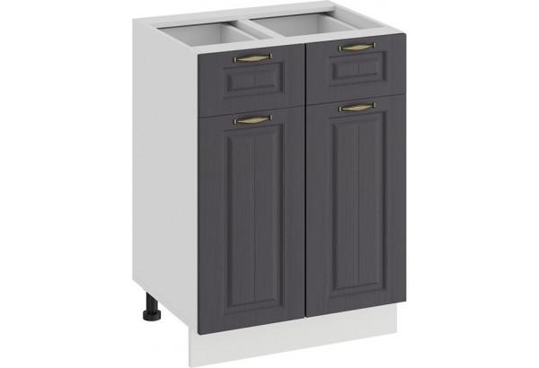 Шкаф напольный с двумя ящиками и двумя дверями «Лина» (Белый/Графит) - фото 1
