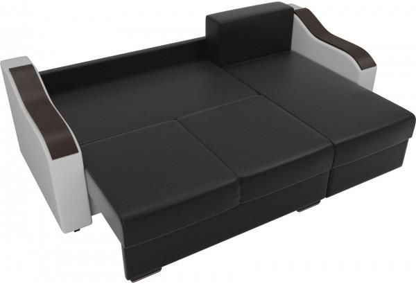 Угловой диван Монако Черный/Белый/Цветы (Экокожа/рогожка) - фото 7