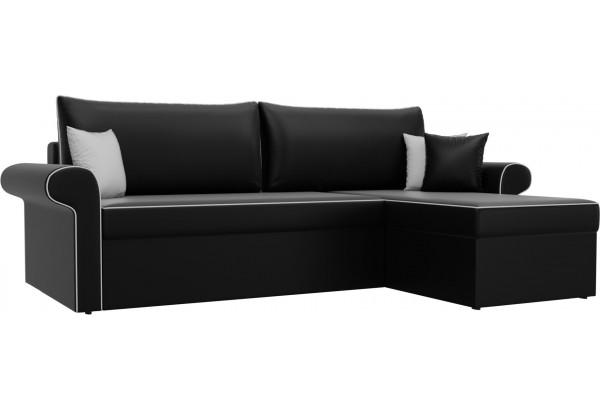Угловой диван Милфорд Черный (Экокожа) - фото 1