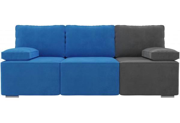 Диван прямой Радуга Голубой/Голубой/Серый (Велюр) - фото 2