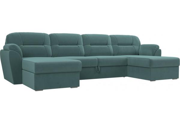 П-образный диван Бостон бирюзовый (Велюр) - фото 1