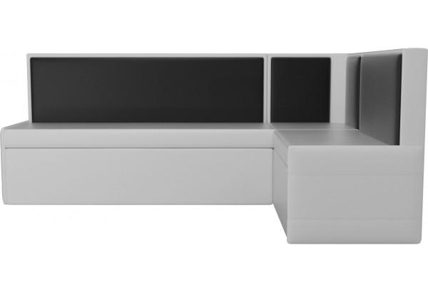 Кухонный угловой диван Кристина Белый/Черный (Экокожа) - фото 2