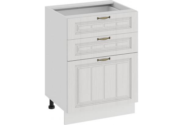 Шкаф напольный с тремя ящиками «Лина» (Белый/Белый) - фото 1