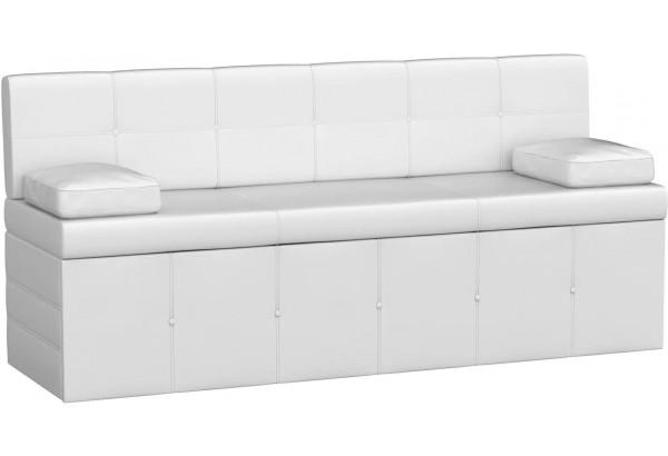 Кухонный прямой диван Лео Белый (Экокожа) - фото 1