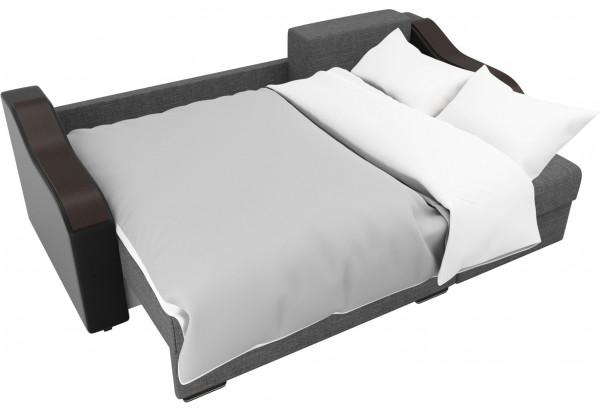 Угловой диван Монако Серый/Черный/Коричневый (Рогожка/Экокожа) - фото 8