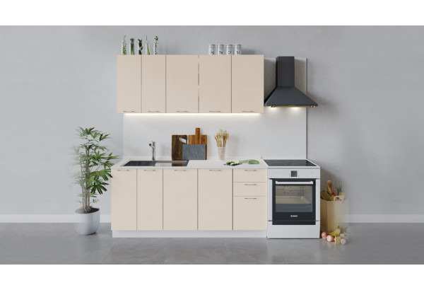 Кухонный гарнитур «Весна» длиной 180 см (Белый/Ваниль глянец) - фото 1