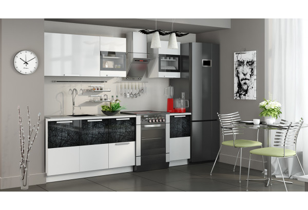 Кухонный гарнитур длиной - 240 см Фэнтези (Белый универс)/(Лайнс) - фото 2