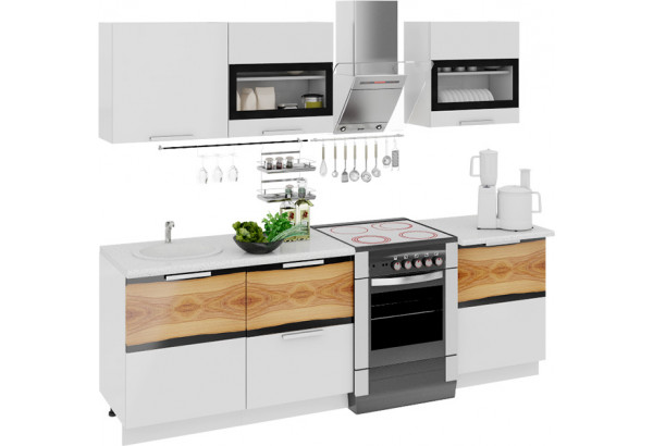 Кухонный гарнитур длиной - 240 см Фэнтези (Белый универс)/(Вуд) - фото 1
