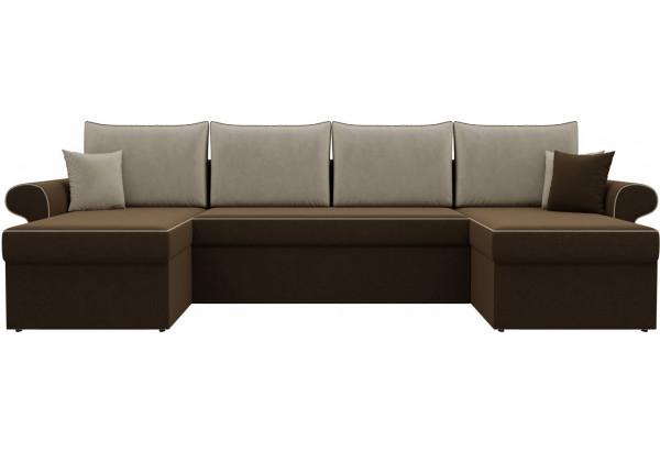 П-образный диван Милфорд Коричневый/Бежевый (Микровельвет) - фото 2