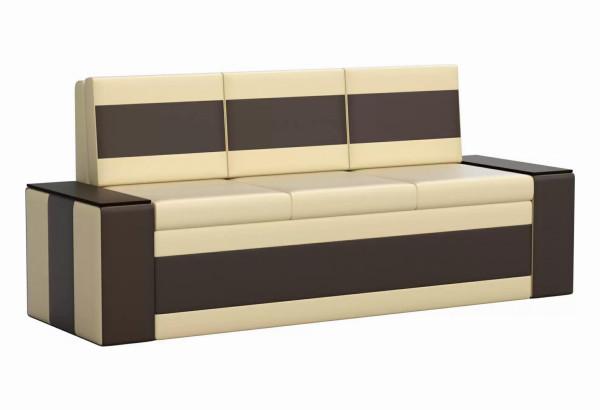 Кухонный прямой диван Лина бежевый/коричневый (Экокожа) - фото 1