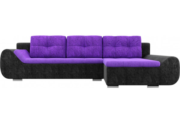 Угловой диван Анталина Фиолетовый/Черный (Велюр) - фото 2