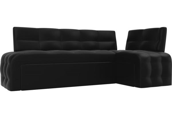 Кухонный угловой диван Люксор Черный (Экокожа) - фото 1