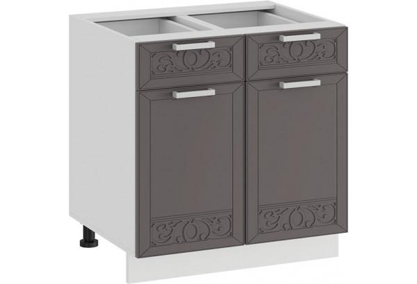 Шкаф напольный с двумя ящиками и двумя дверями «Долорес» (Белый/Муссон) - фото 1