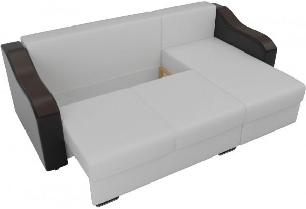 Угловой диван Монако Белый/Черный/Цветы (Экокожа/рогожка) - фото 6