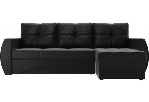 Угловой диван Сатурн Черный (Экокожа) - фото 2
