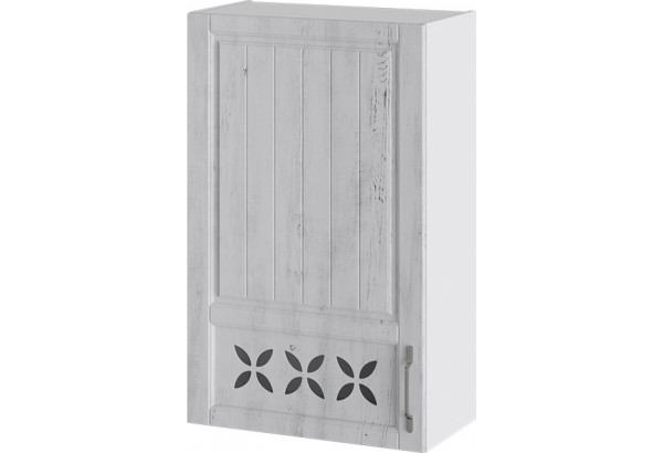 Шкаф навесной c декором (левый) (ПРОВАНС (Белый глянец/Санторини светлый)) - фото 1