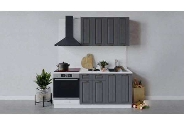 Кухонный гарнитур «Лина» длиной 180 см со шкафом НБ (Белый/Графит) - фото 1