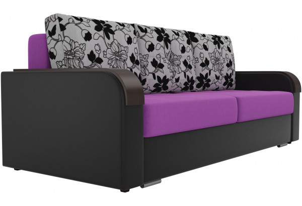 Прямой диван Мейсон Фиолетовый/Черный (Микровельвет/Экокожа/флок на рогожке) - фото 3
