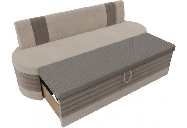 Кухонный прямой диван Токио бежевый/коричневый (Велюр) - фото 5