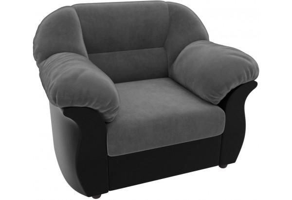 Кресло Карнелла Серый/черный (Велюр/Экокожа) - фото 4