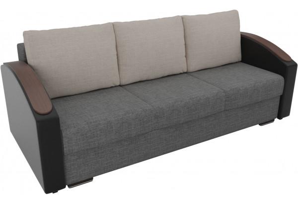 Прямой диван Монако slide Серый/черный (Рогожка/Экокожа) - фото 4