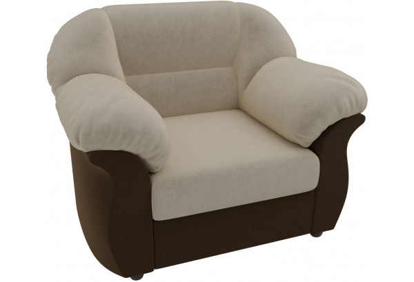 Кресло Карнелла бежевый/коричневый (Микровельвет) - фото 4