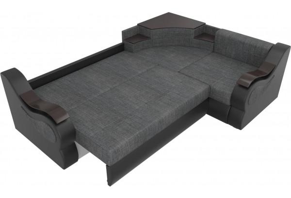 Угловой диван Митчелл Серый/черный (Рогожка/Экокожа) - фото 7