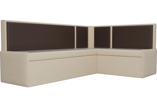 Кухонный угловой диван Кристина бежевый/коричневый (Экокожа) - фото 3