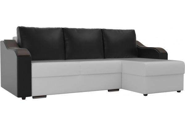 Угловой диван Монако Белый/Черный/Черный (Экокожа) - фото 1
