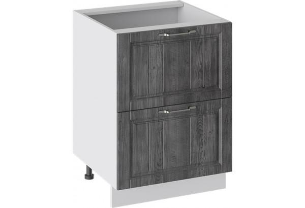 Шкаф напольный с 2-мя ящиками (ПРОВАНС (Белый глянец/Санторини темный)) - фото 1
