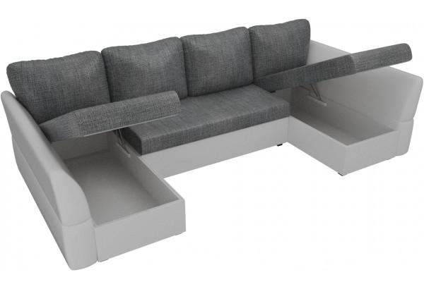 П-образный диван Гесен Серый/белый (Рогожка/Экокожа) - фото 5