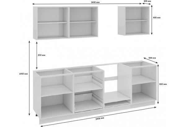Кухонный гарнитур длиной - 240 см (со шкафом НБ) Фэнтези (Белый универс)/(Лайнс) - фото 3