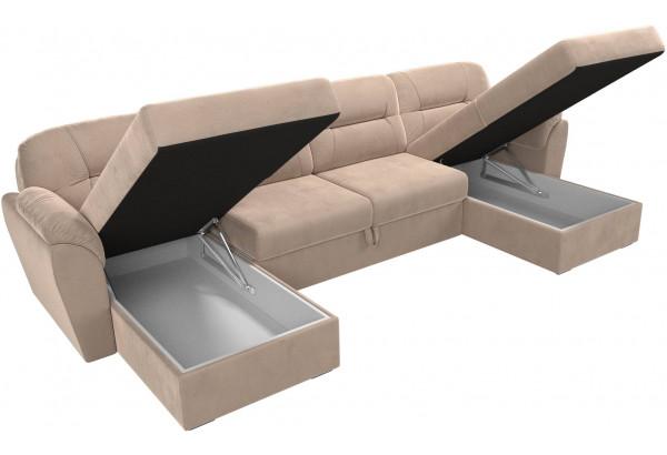 П-образный диван Бостон Бежевый (Велюр) - фото 6