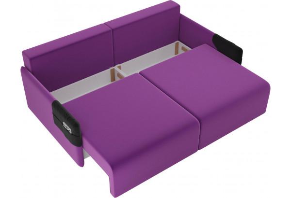 Прямой диван Армада Фиолетовый/Черный (Микровельвет) - фото 5