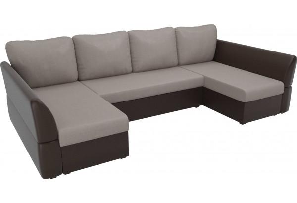 П-образный диван Гесен бежевый/коричневый (Рогожка/Экокожа) - фото 4