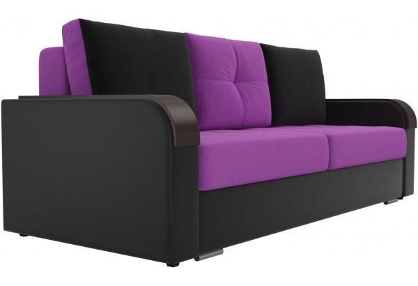 Прямой диван Мейсон Фиолетовый/Черный (Микровельвет/Экокожа) - фото 3