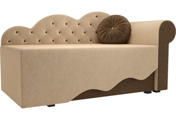 Детская кровать Тедди-1 бежевый/коричневый (Микровельвет) - фото 1