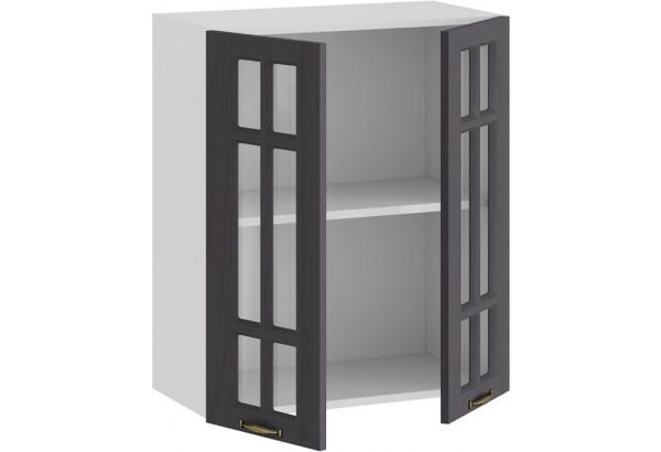 Шкаф навесной c двумя дверями со стеклом «Лина» (Белый/Графит) - фото 2