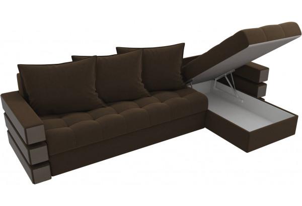 Угловой диван Венеция Коричневый (Микровельвет) - фото 5