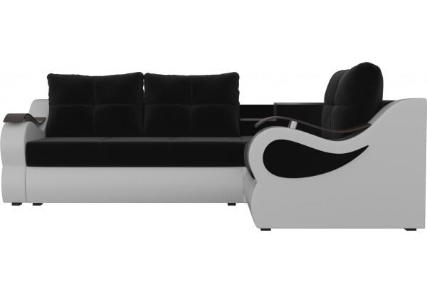Угловой диван Митчелл Черный/Белый (Микровельвет/Экокожа) - фото 2