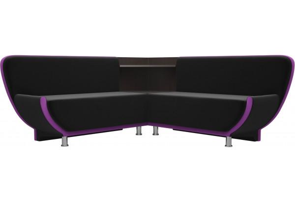 Кухонный угловой диван Лотос черный/фиолетовый (Микровельвет) - фото 1