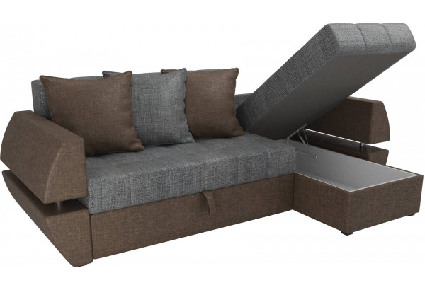 Угловой диван Атлантида У/Т Серый/коричневый (Рогожка) - фото 5