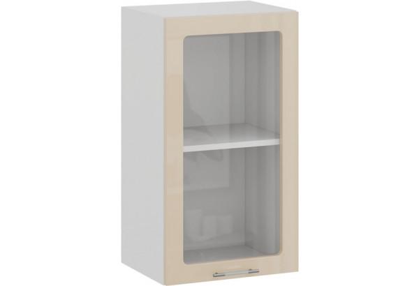 Шкаф навесной c одной дверью со стеклом «Весна» (Белый/Ваниль глянец) - фото 1