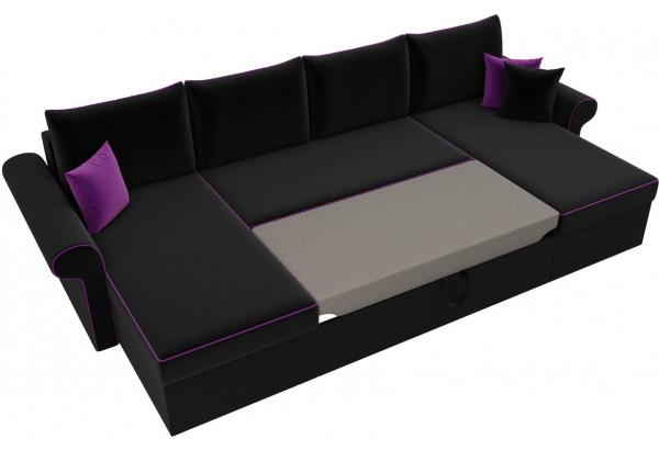 П-образный диван Милфорд Черный (Микровельвет) - фото 6