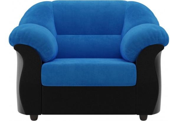 Кресло Карнелла голубой/черный (Велюр/Экокожа) - фото 2