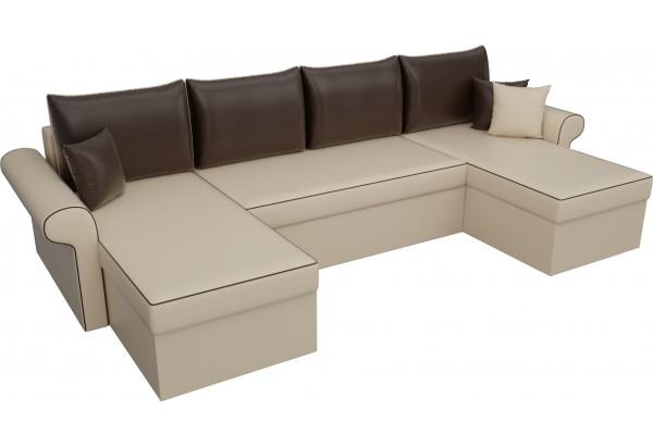 П-образный диван Милфорд бежевый/коричневый (Экокожа) - фото 4
