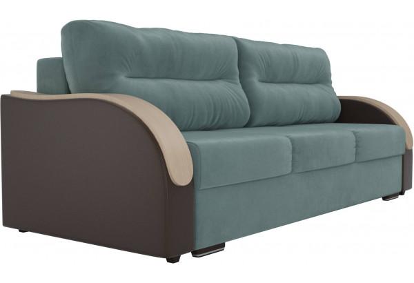 Прямой диван Дарси Бирюзовый/Коричневый (Велюр/Экокожа) - фото 3