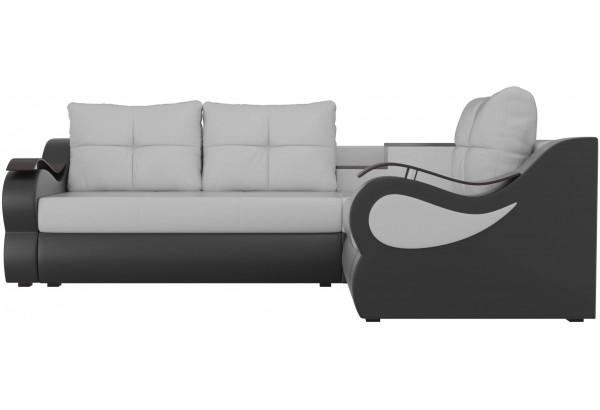 Угловой диван Митчелл Белый/Черный (Экокожа) - фото 2
