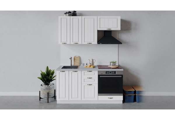 Кухонный гарнитур «Лина» длиной 160 см со шкафом НБ (Белый/Белый) - фото 1
